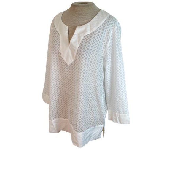 Lands' End Sheer Tunic Top Shirt Blouse White 12